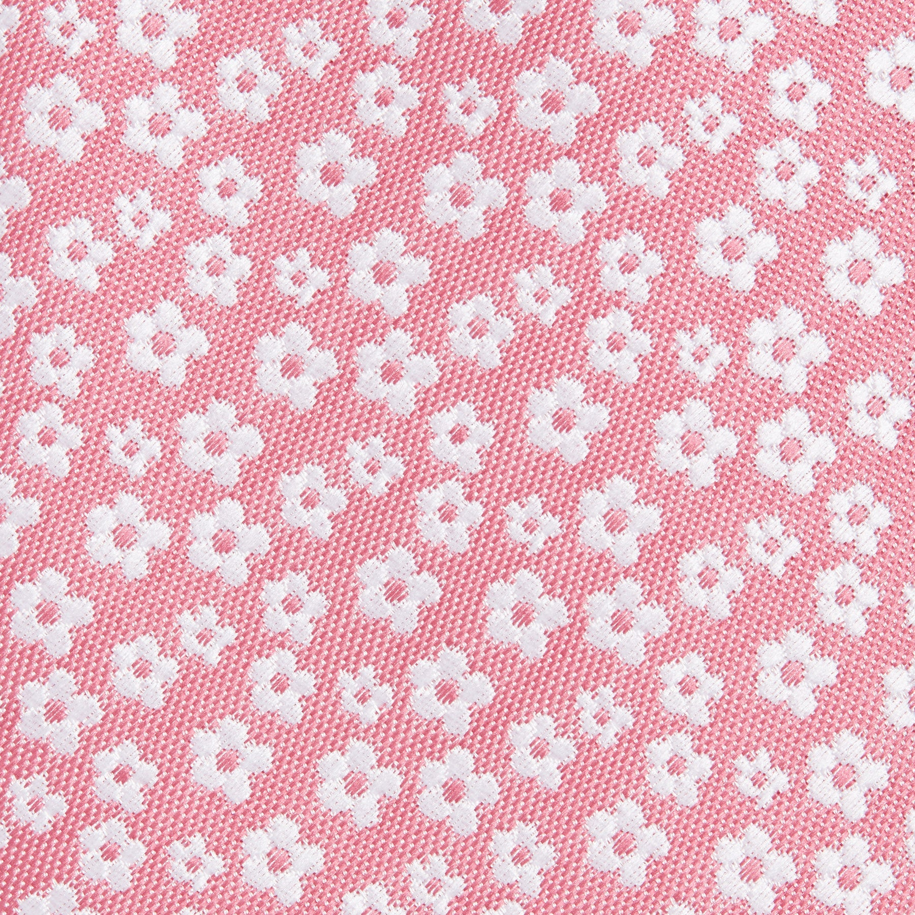 Rose Pink With White Ditsy Flower Pattern Slim Tie Fabric