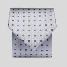 Load image into Gallery viewer, Folkespeare Silver With Navy Polka Dot Slim Tie