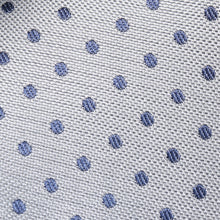 Load image into Gallery viewer, Folkespeare Silver With Navy Polka Dot Slim Tie Fabric