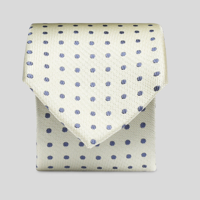 Folkespeare Lemon With Navy Polka Dot Slim Tie