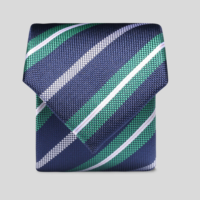 Folkespeare Navy Emerald And White Diagonal Stripe Slim Tie