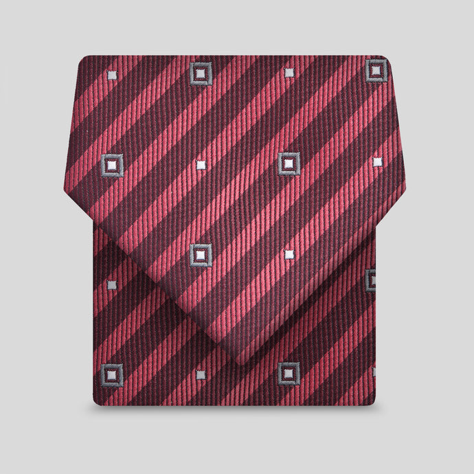 Burgundy And Rose Pink Diagonal Stripe Slim Tie