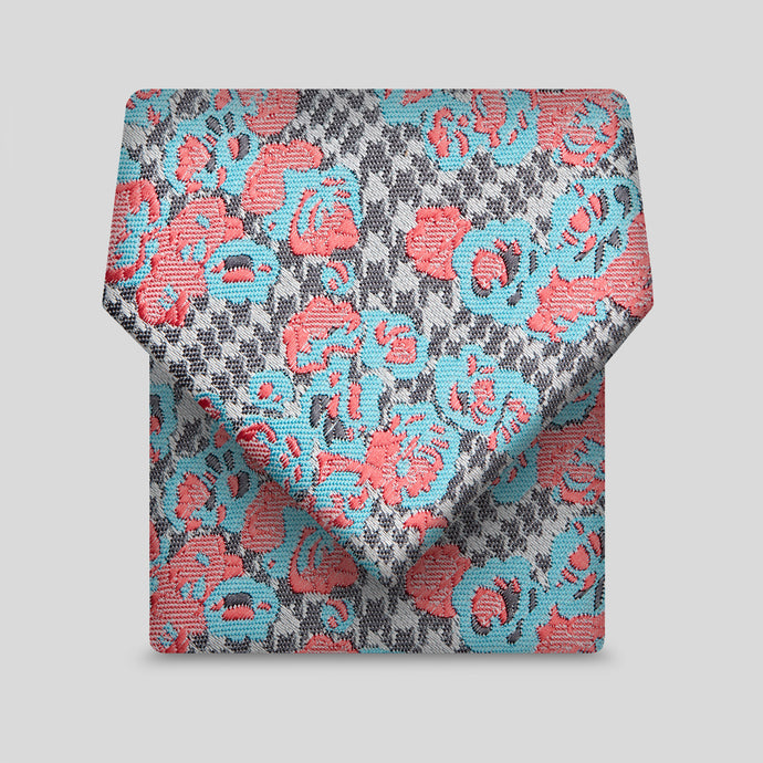 Grey, Pink And Blue Patterned Slim Tie