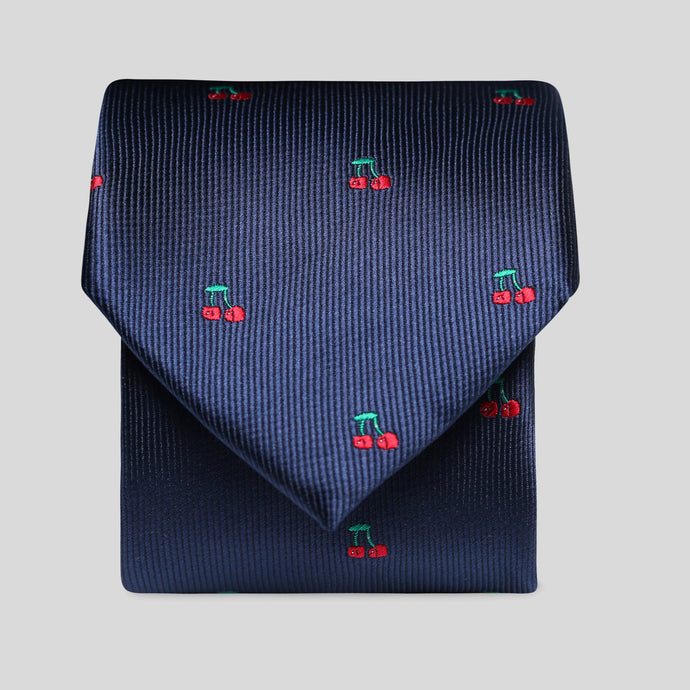 Folkespeare Prussian Blue With Cherries Slim Tie