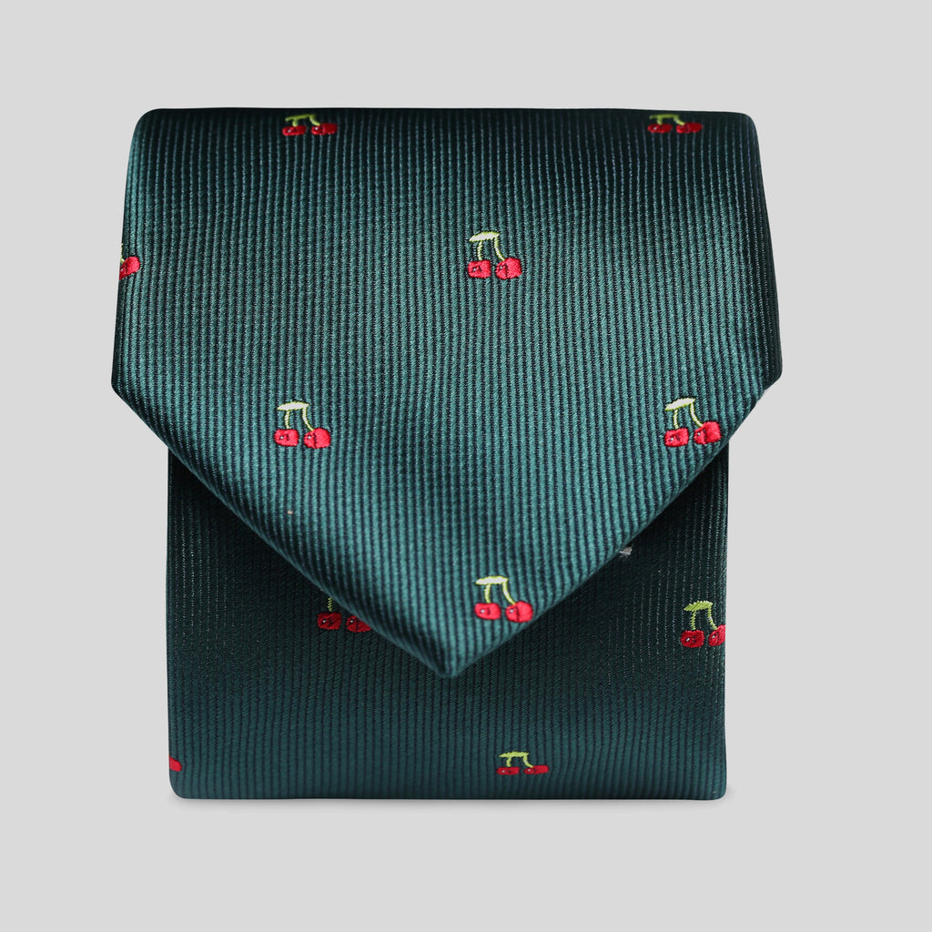 Racing Green With Cherries Slim Tie