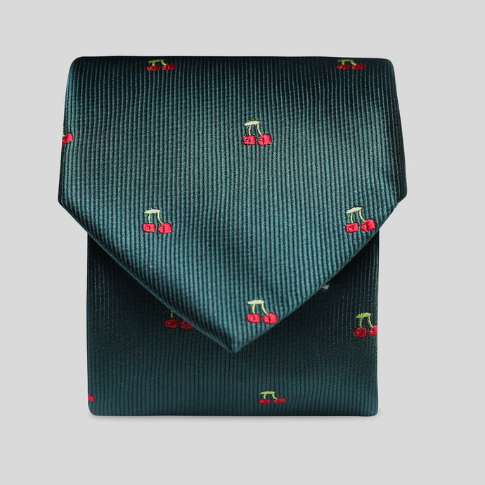 Folkespeare Racing Green With Cherries Slim Tie