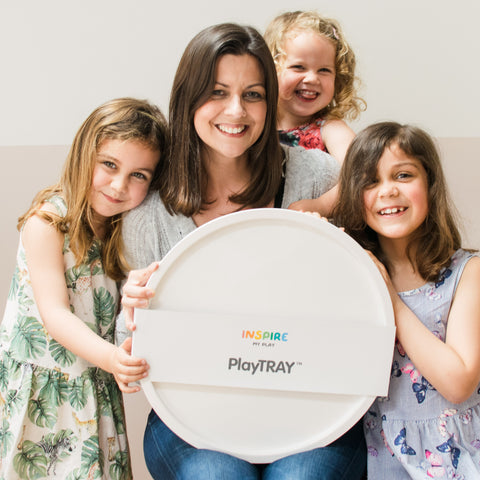 Laura and daughters with the PlayTRAY