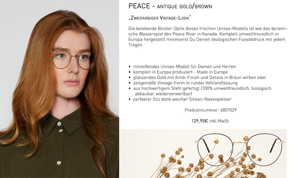 PEACE - antique gold/ brown
