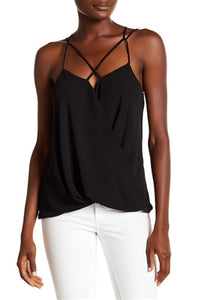 Black Surplice Top With Criss Cross Strap