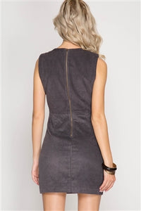 Sleeveless Corduroy Dress With Lace-Up-Front