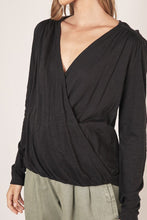 Load image into Gallery viewer, Black V-Neck Surplice Blouse