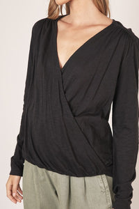 Black V-Neck Surplice Blouse