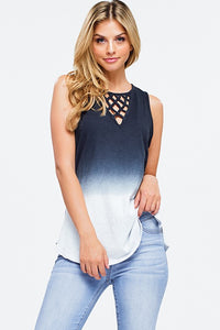 Charcoal Blue Ombre Tie Dye Tank Top