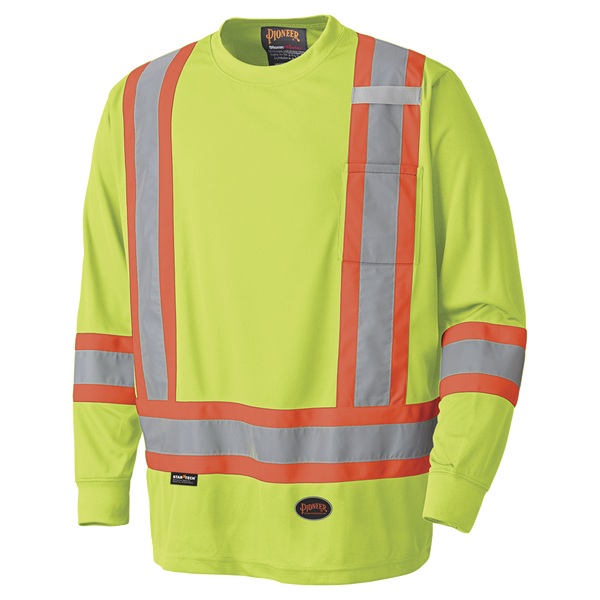 Pioneer Hi-Viz Safety Long-Sleeved Shirt - Birdseye Poly  Style 6996