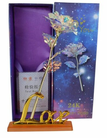 Romantic Galaxy Rose with Love Stand