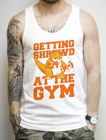 Getting Shrewed At The Gym on a White Tank Top