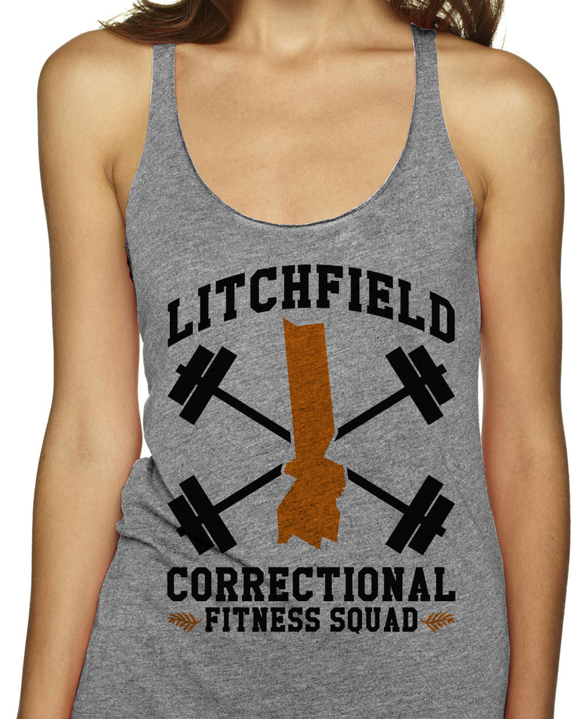 Litchfield Correctional Fitness Squad on an Athletic Grey Racerback