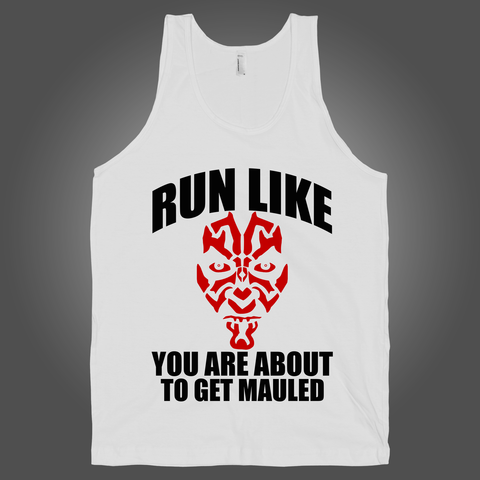 Run Like You Are About To Get Mauled on a White Tank Top