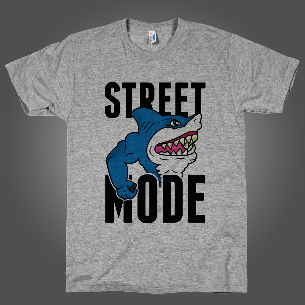 Street Mode on an Athletic Grey T Shirt
