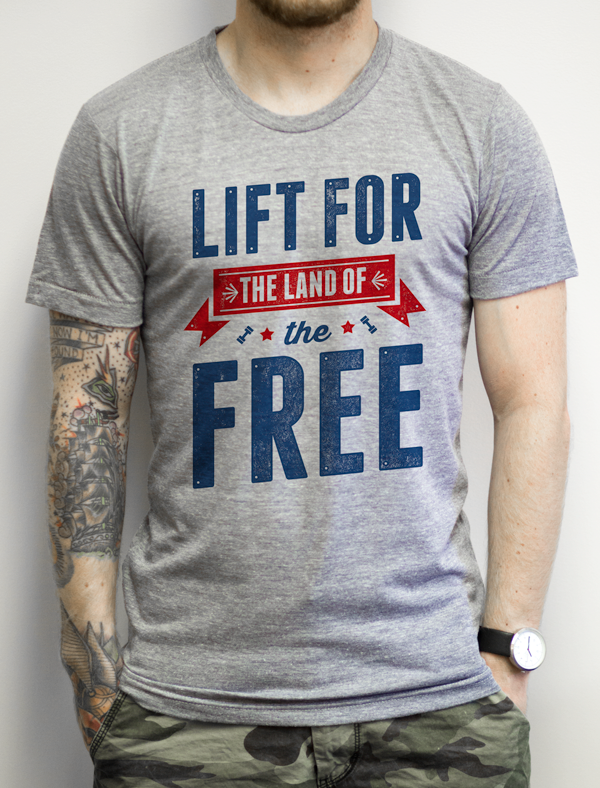 Lift For The Land Of The Free on an Athletic Grey T Shirt