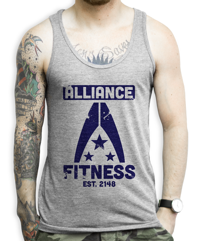 Alliance Fitness on an Athletic Grey Unisex Tank Top