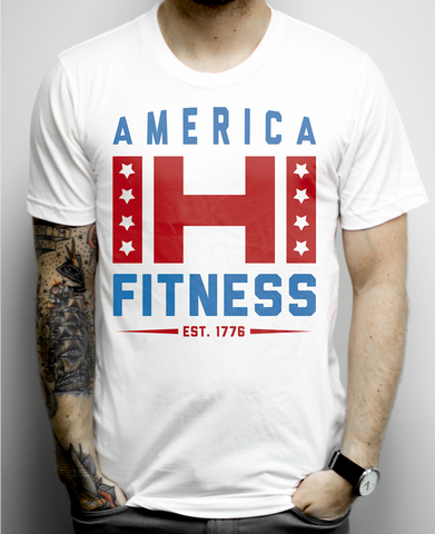 America Fitness on a White Unisex Tee Shirt