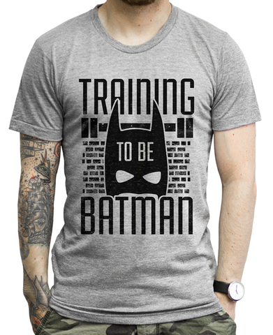 Training To Be Batman on an Athletic Grey T Shirt