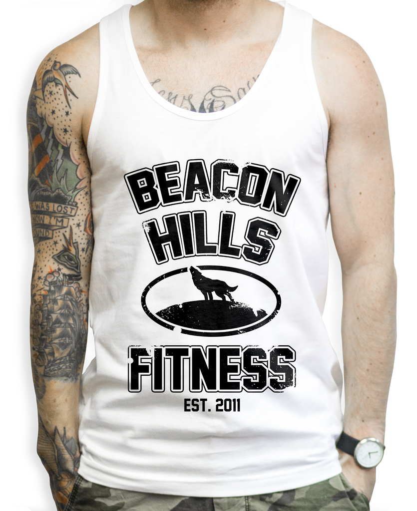 Beacon Hills Fitness on a Unisex Tank Top