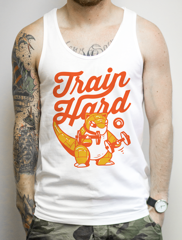 Train Hard on a White Tank Top