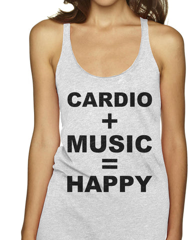 Cardio Plus Music Equalls Happy Racerback