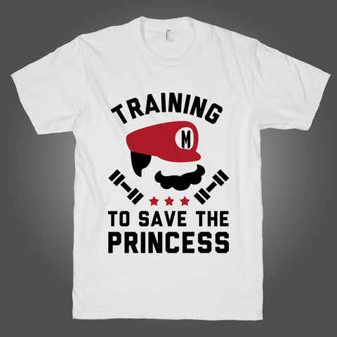 Training To Save The Princess on a White T Shirt