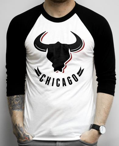 Chicago Fan Shirt on a White and Black Baseball Tee