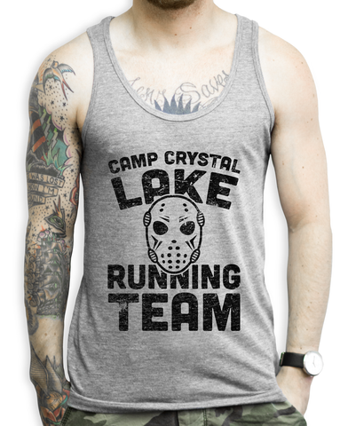 Camp Crystal Lake Running Team on an Athletic Grey Tank Top