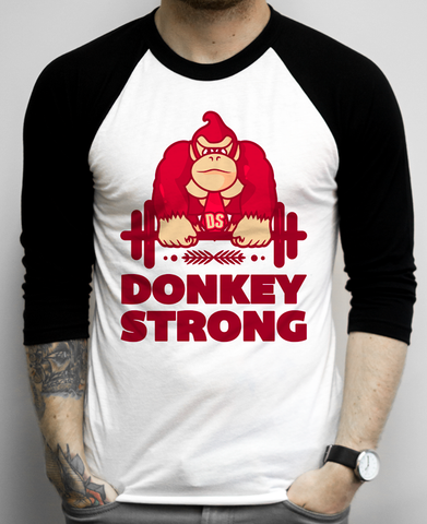 Donkey Strong on a White and Black Baseball Tee