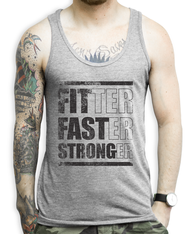 Fitter, Faster, Stronger (black) on a Unisex Athletic Grey Tank Top