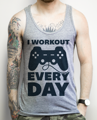I Workout Everyday on an Athletic Grey Tank Top