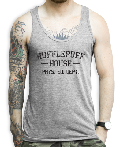 Hufflepuff House PHYS. ED. DEPT. (black) on a Unisex Athletic Grey Tank Top
