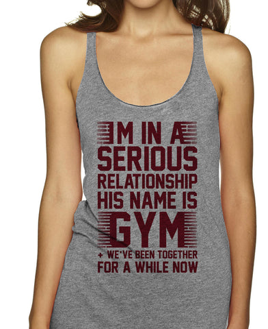 In a Serious Relationship on an Athletic Grey Racerback