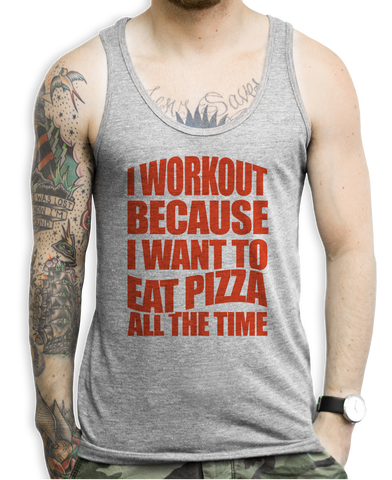 I Workout Pizza Tank Tops