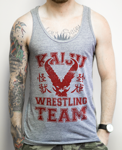 Kaiju Wrestling Team on a Unisex Athletic Grey Tank Top
