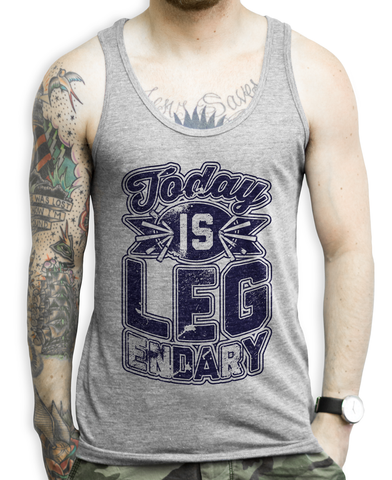 Today Is Leg Day on a Unisex Athletic Grey Tank Top