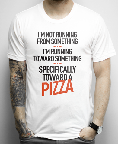 Running Toward Pizza on a White Unisex Tee Shirt