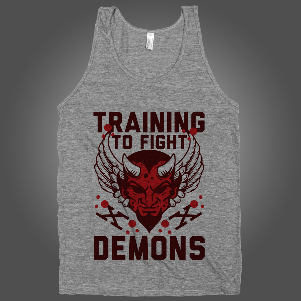 Training To Fight Demons on an Athletic Grey Tank Top