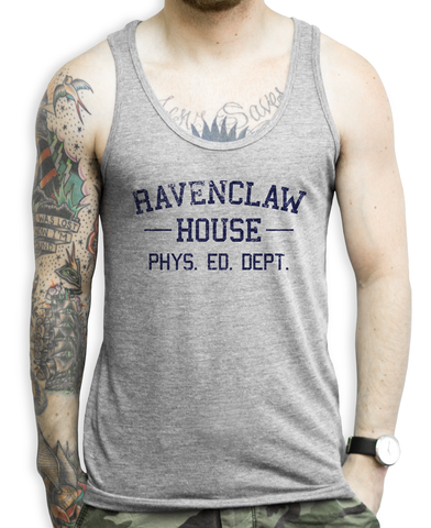 Ravenclaw House PHYS. ED. DEPT. (blue) on a Unisex Athletic Grey Tank Top