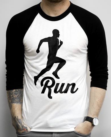 Run on a White and Black Baseball Tee