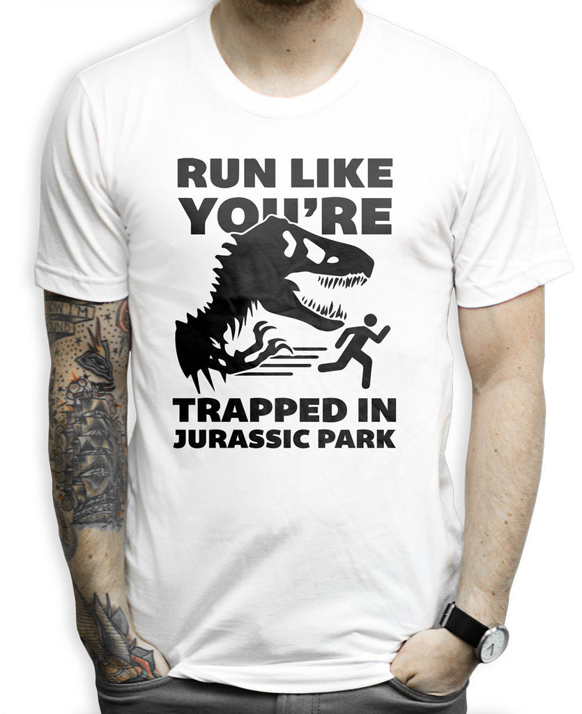 Run Like You're In Jurassic Park on a White T Shirt