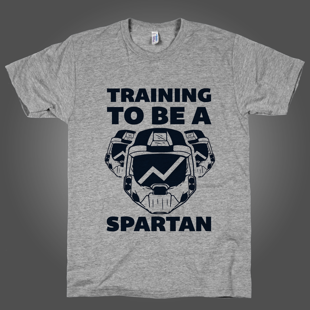 Training To Be A Spartan on an Athletic Grey T Shirt