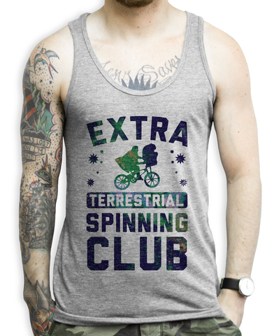 Extra Terrestrial Spinning Club on an Athletic Grey Tank Top