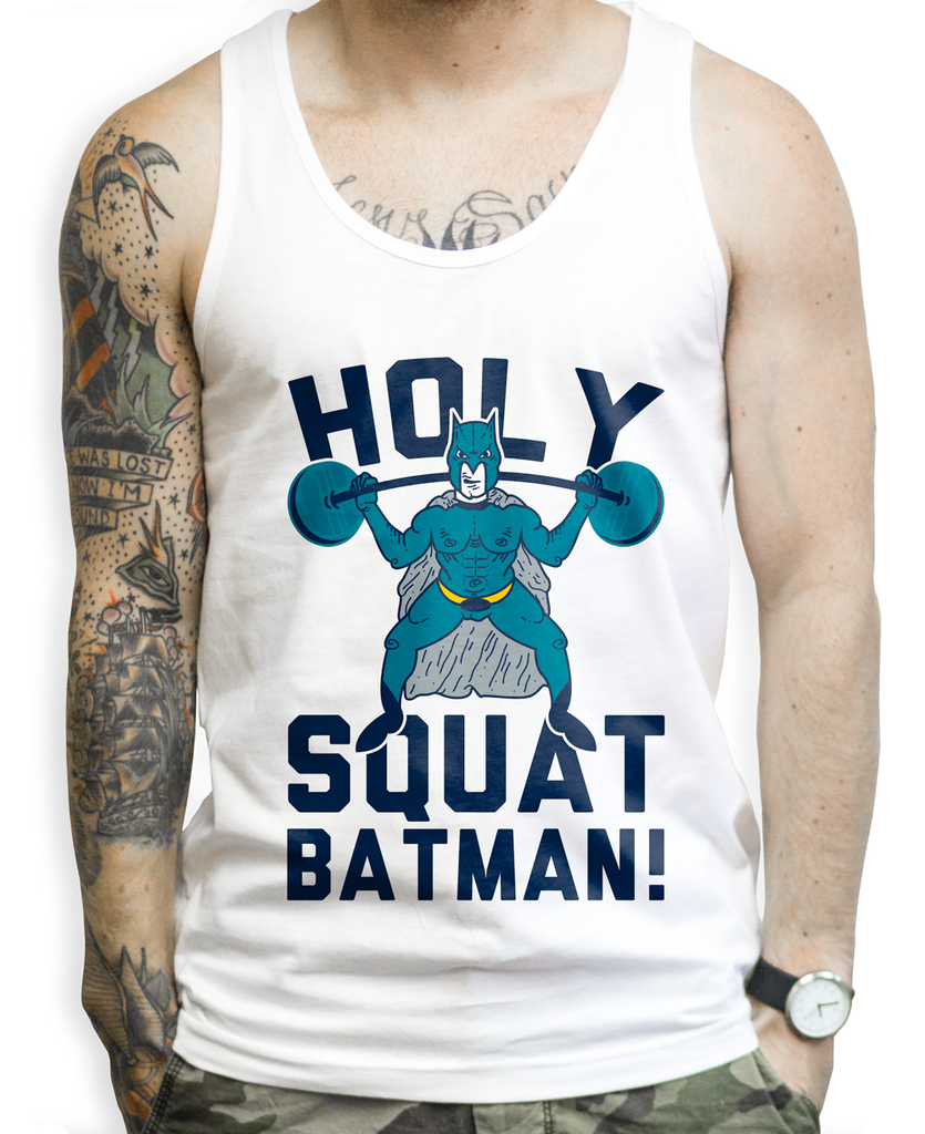 Holy Squat Batman on a White Unisex Tank Top