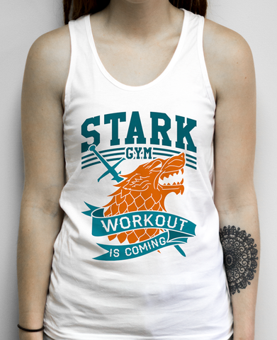 Stark Gym on a White Unisex Tank Top